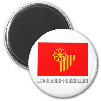 Languedoc-Roussillon flag with name 2 Inch Round Magnet