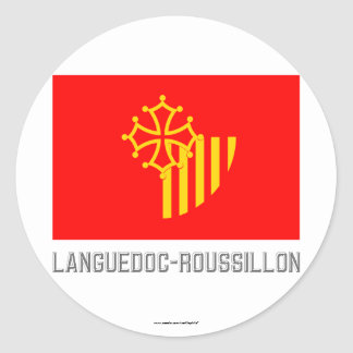 Languedoc-Roussillon flag with name Classic Round Sticker