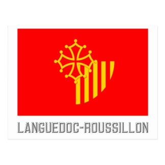 Languedoc-Roussillon flag with name Postcard