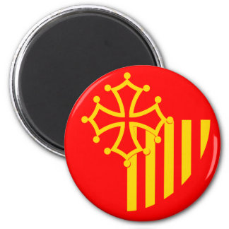 Languedoc Roussillon, France flag 2 Inch Round Magnet