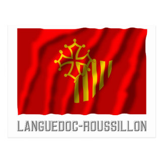 Languedoc-Roussillon waving flag with name Postcard