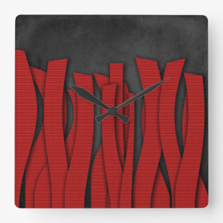 Languettes - Red Modern Wall Clock