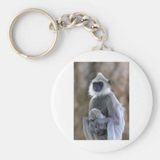 Langur monkey basic round button keychain