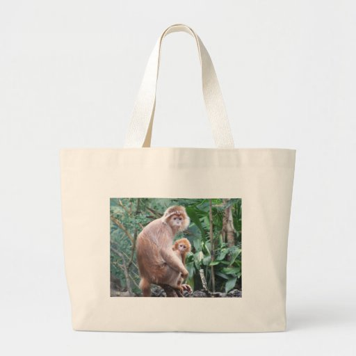 Langur Monkey Mother & Baby Jumbo Tote Bag