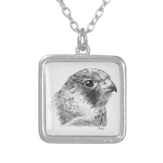 Lanner Falcon Drawing Square Pendant Necklace