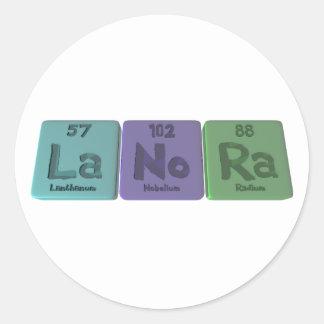 Lanora as Lanthanum Nobelium Radium Classic Round Sticker