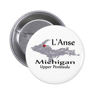 L'Anse Michigan Heart Map Design Button