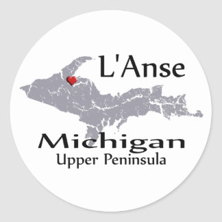 L'Anse Michigan Heart Map Design Sticker