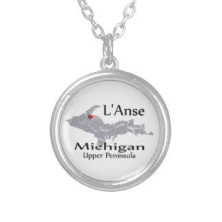 L'Anse Michigan Map Design Necklace