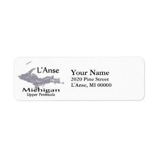 L'Anse Michigan Map Return Address Return Address Label