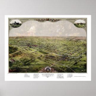 Lansing, mapa panorámico del MI - 1866 Posters