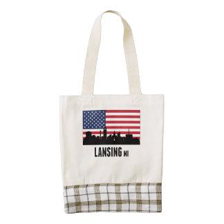 Lansing MI American Flag Zazzle HEART Tote Bag