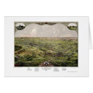 Lansing, MI Panoramic Map - 1866 Greeting Card