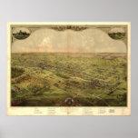 Lansing Michigan 1866 Antique Panoramic Map Posters