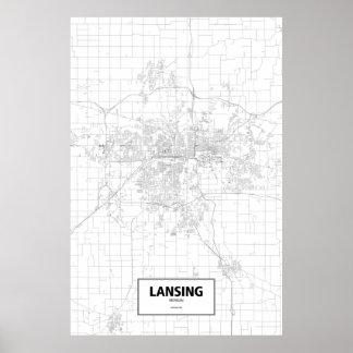 Lansing, Michigan (black on white) Poster