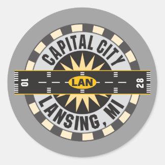 Lansing, Michigan LAN Airport Classic Round Sticker