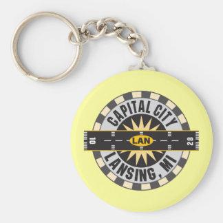 Lansing, Michigan LAN Airport Basic Round Button Keychain