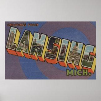 Lansing, Michigan - Large Letter Scenes 2 Poster
