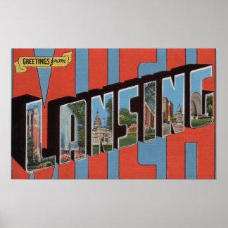 Lansing, Michigan - Large Letter Scenes Poster
