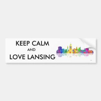 LANSING, MICHIGAN SKYLINE - Car Bumper Sticker