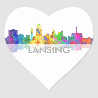 LANSING, MICHIGAN SKYLINE - Heart shaped stickers