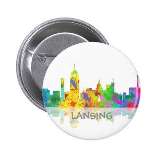 LANSING, MICHIGAN SKYLINE - Round Button