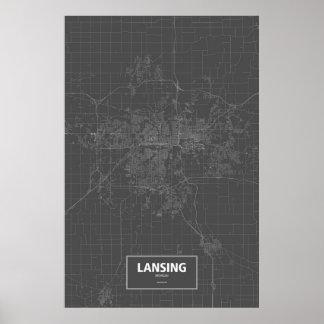 Lansing, Michigan (white on black) Poster