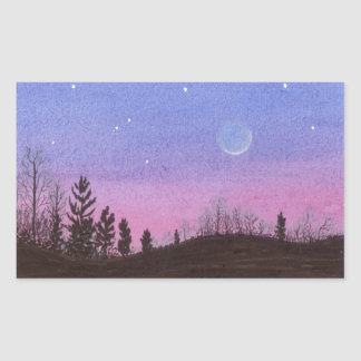 Lansing Moon & Stars Rectangular Sticker