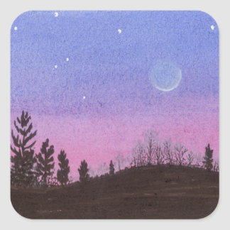 Lansing Moon & Stars Square Sticker