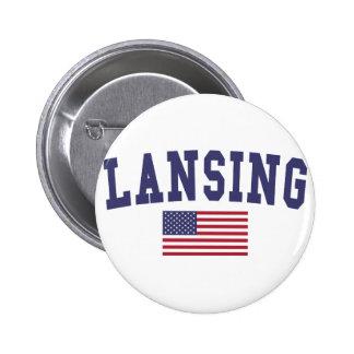 Lansing US Flag Pinback Button