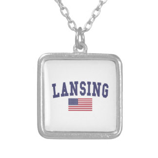 Lansing US Flag Square Pendant Necklace