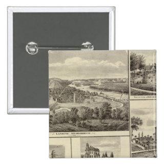 Lansing, Waukon, and residences in Nevada Pinback Button