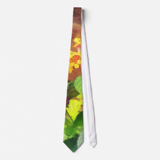 Lantana Against Brick Wall Neck Tie