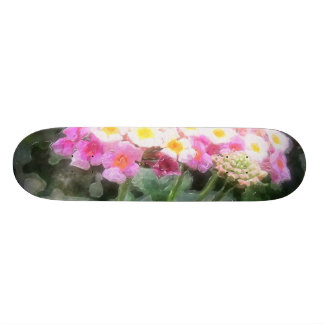 Lantana Flowers 2 Watercolor Skate Board