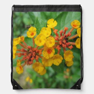 Lantana Garden Flower Yellow Drawstring Bag