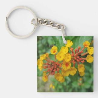 Lantana Garden Flower Yellow Square Acrylic Key Chains