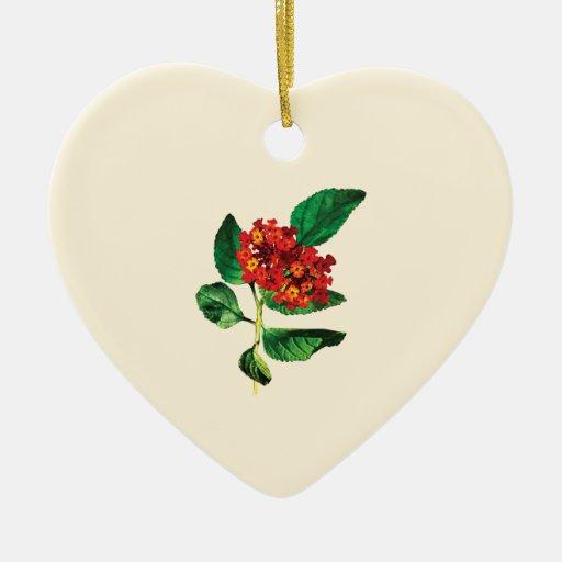 Lantanas anaranjados adorno de cerámica en forma de corazón