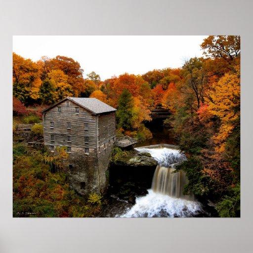 Lanterman's Mill in Autumn Poster