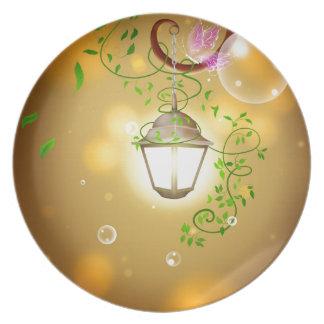 lantern-83659 WARM GLOWING LANTERN COTTAGE FAIRYTA Dinner Plates