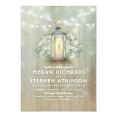 Lantern And Baby's Breath Rustic Summer Wedding Card at Zazzle