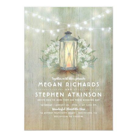 Lantern And Baby's Breath Rustic Summer Wedding Card