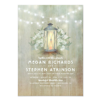 Lantern and Baby's Breath Rustic Summer Wedding Card