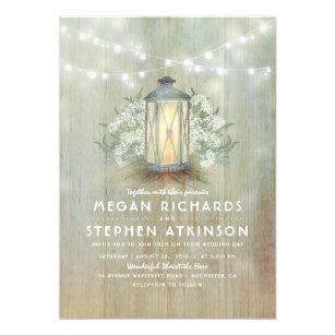 Lantern And Babys Breath Rustic Summer Wedding Invitation