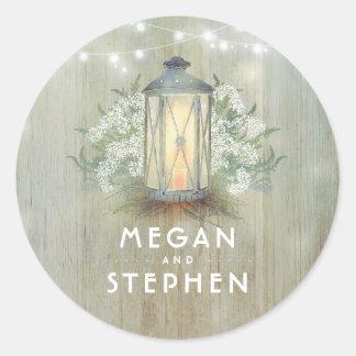 Lantern and Baby's Breath Rustic Wood Wedding Classic Round Sticker