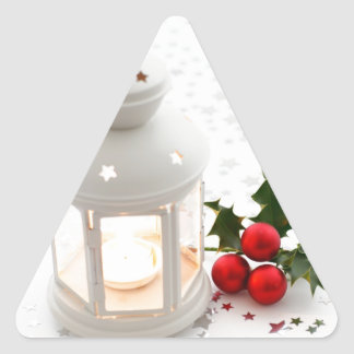 Lantern and Holly. Triangle Stickers