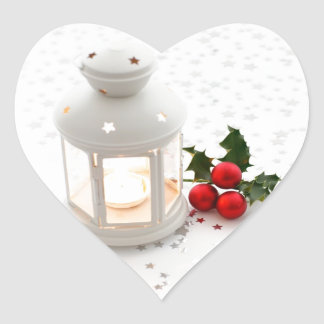Lantern and Holly. Heart Stickers