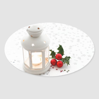 Lantern and Holly. Oval Stickers
