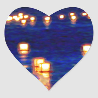 Lantern Floating Festival Heart Sticker