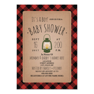 Lantern Lumberjack Plaid Baby Shower Invitation