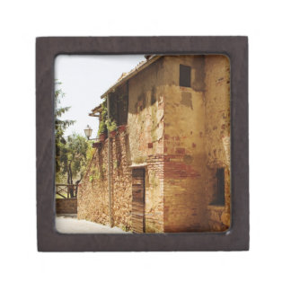 Lantern mounted on the wall of a building, gift box